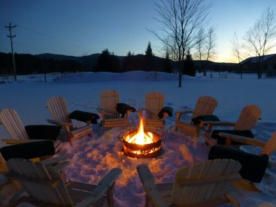 Outdoor Fire Pit with chairs and blankets
