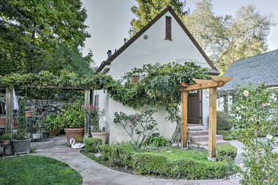 Rest easy in an English-inspired escape when you book this quaint vacation rental cottage in Menlo Park.