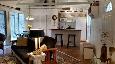 Open beam ceiling, shiplap gorgeous views,  open great room to kitchen  & dining