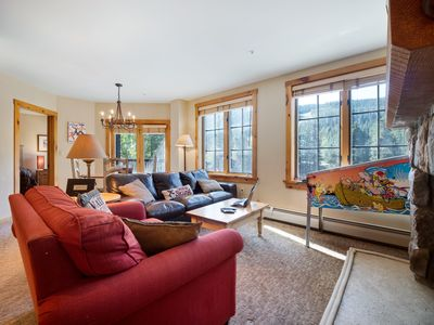 Living room with great views & pinball machine