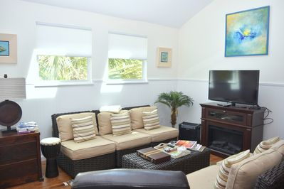 Living room area. Light and bright with skylights. Seating for 6 with TV & DVD
