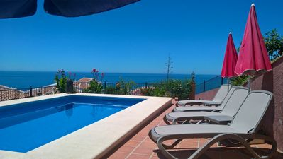 Photo for NERJA Villa STUNNING SEA VIEW, POOL, Incl WIFI and AIR CON, CINEMA/GAMES ROOM