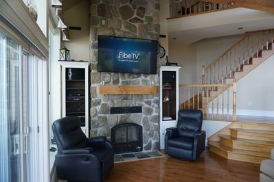 Great TV and stereo but this room is designed for conversation!