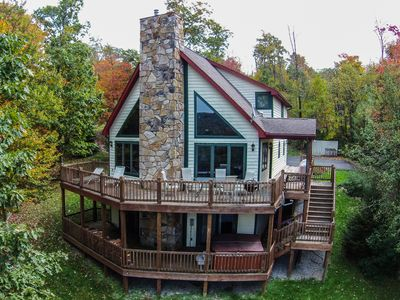 Photo for Gorgeous 4 Bedroom Mountain Log home w/ Hot Tub & Stunning Views!