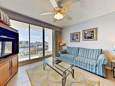 Living Room - Welcome to The Terrace at Pelican Beach! This condo is professionally managed by TurnKey Vacation Rentals.
