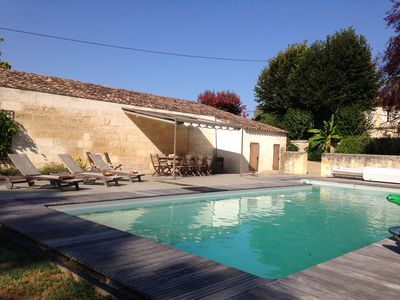 Photo for A family friendly house with heated pool in the heart of Bordeaux wine country