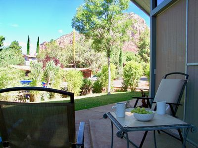 Mornings on the front porch. Shaded with view of Thunder Mountain.