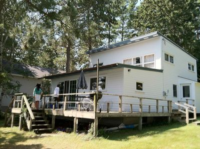 Front of cabin with deck.