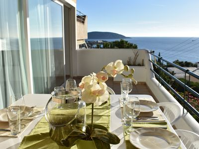 Photo for Modern sea view apartment in Athens Riviera, best sunset in Greece