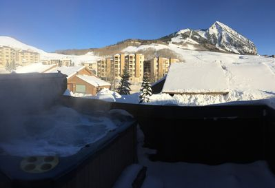 Private hot tub on deck; overlooks mountain and resort.
