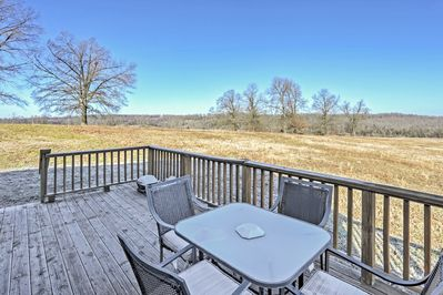 Take in majestic scenery on the private deck.