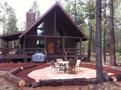 Photo for Custom log cabin, backs to National forest in Pinetop CC, very private-remodeled