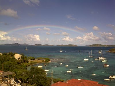 Rainbow over Cruz Bay taken from the Penthouse Balcony!