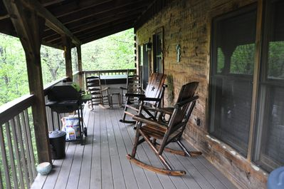 Sit down and enjoy the view and the smell of our authentic log home!