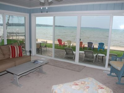 Photo for Located directly on East Grand Traverse Bay with private beach
