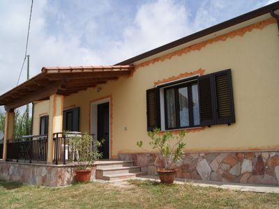 Photo for New vacation home in a peaceful mountain village w/ a sea view. 10 km to the sea