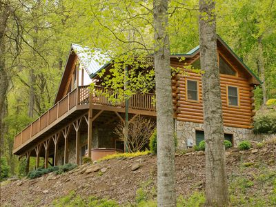 Photo for Charming 2 Bedroom Log Home, Enchanting Views, Mostly Paved Access, Hot Tub
