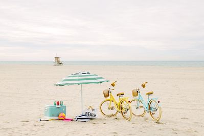 Have yourself a beach day. Bikes for you ;)