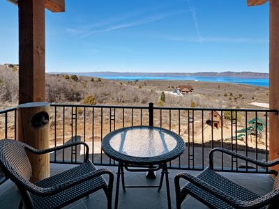Photo for Enjoy stunning views from this spacious home w/ a deck, home theater - near town