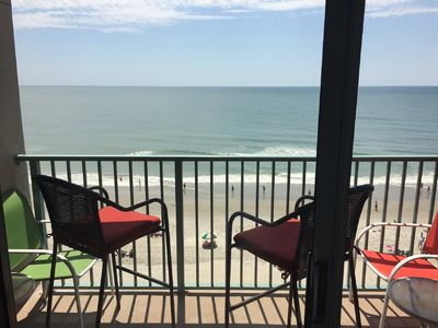 "Photo for ""Chasing Waves""~Gorgeous Oceanfront King Condo, Living Room, Walk-in Shower"
