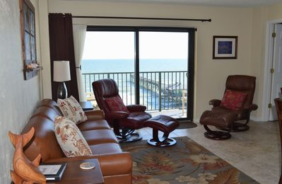 Living Room view - direct oceanfront!  Leather sofa and leather recliners