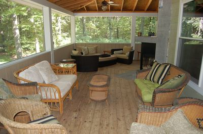 Enjoy the outdoors! Plenty of seating for large family gatherings.