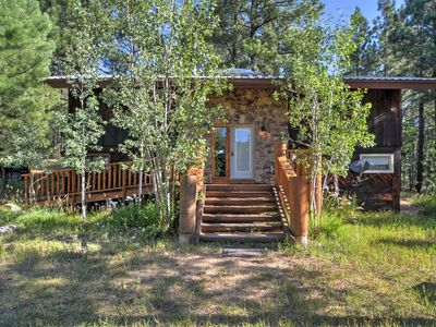Photo for Rustic Pendaries Cabin w/ Large Deck & Pond View!