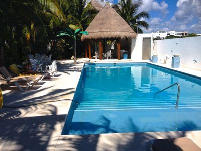Gorgeous pool and Palapa with lounges, chairs and tables, even some shade!
