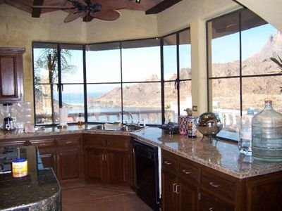 View of/from the kitchen of the Sea of Cortez. Mountains and San Carlos  Marina