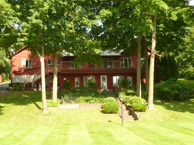 Redwood Lodge from the lake provides a welcome respite for friends & family!
