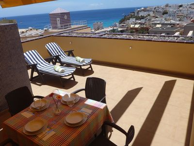 Photo for Spacious, big terrace, sunny, free Wlan, sea, 250 m. from the beach