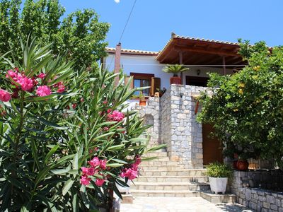 Photo for Beautiful holiday house with sea view, terrace, BBQ | Lakonia, Peloponnese