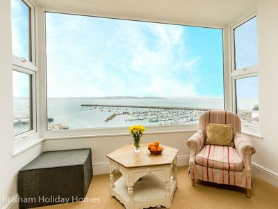 Photo for Rock Cottage -  large holiday home with spectacular sea views, terrace, wood burner & wi-fi