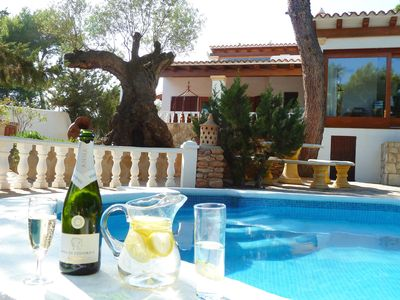 Photo for Close to the beach, comfortable quiet cottage; large garden and heated pool