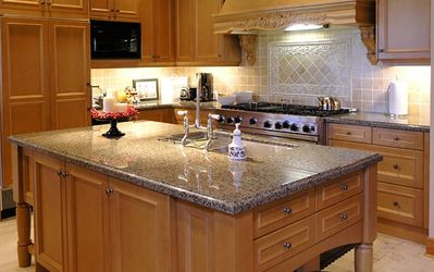 Fully equipped cooks kitchen with 2 sinks and 6 burner stove & large island
