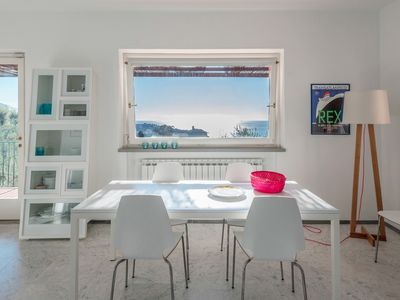 Photo for 'Gli Ulivi'- Terrific sea view, inside a Med' parc, pool, parking, and garage in Lerici