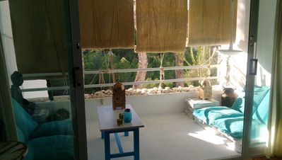 Photo for 250 meters from the beach, free WIFI and terrace with views. Pool