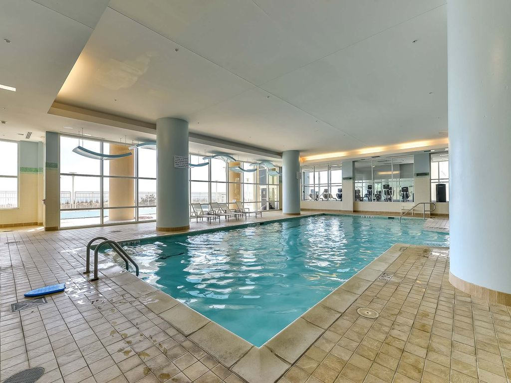 Deluxe oceanfront building with a large indoor pool for Building an indoor pool at home