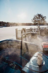 Hot tub and hot coffee is the perfect start to any day when  you're on vacation!