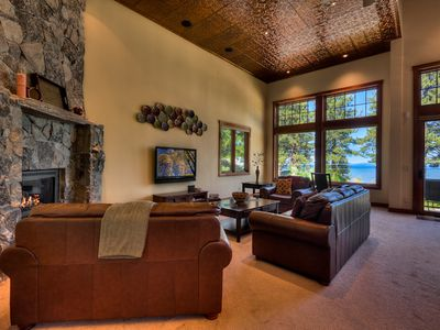 Wall To Lake Views From Custom Built Tahoe Home Living Area