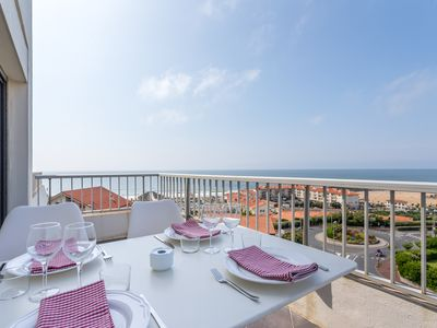 Photo for Panoramic ocean view apartment, large terrace, swimming pool and private parking.