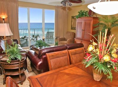 Living Room with a great view of the ocean and beach.