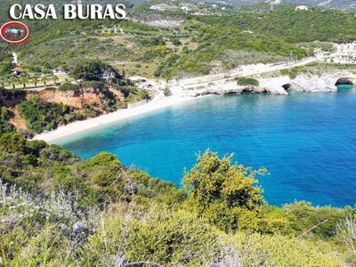 Photo for Casa Buras with sea view, surrounded by greenery 500m from Makris Gialos beach