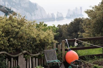 View from seaside garden area to The Needles on a Misty day