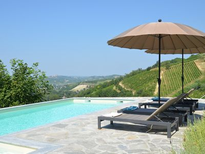 Photo for Cozy Villa w / amazing pool and view of the vineyards and hills of Monferrato!