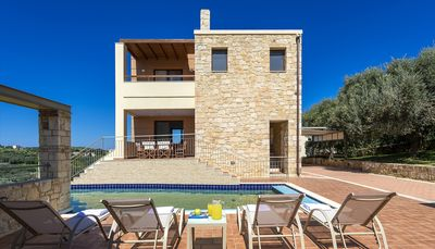 Photo for A Beautiful Villa With Private Pool And Sea View, Built Among Olive Groves