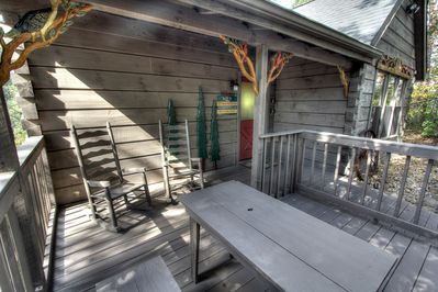 Sit and rock awhile or sit at the picnic table on the newly expanded front porch