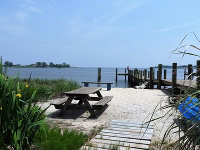 Picnic area next to dock