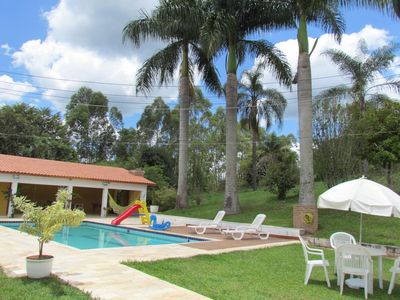 Photo for Sitio aconchegante, houseTÉRREA, swimming pool, barbecue, soccer field, billiards, ping pong