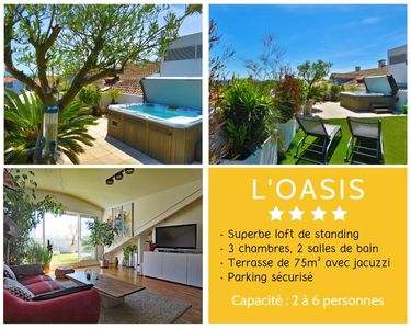 Photo for L'OASIS ★ Cosy 4 star ROOFTOP ★ JACUZZI  ★ PARKING